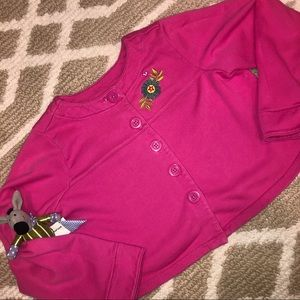 Hanna Andersson pink button embroidered cardigan